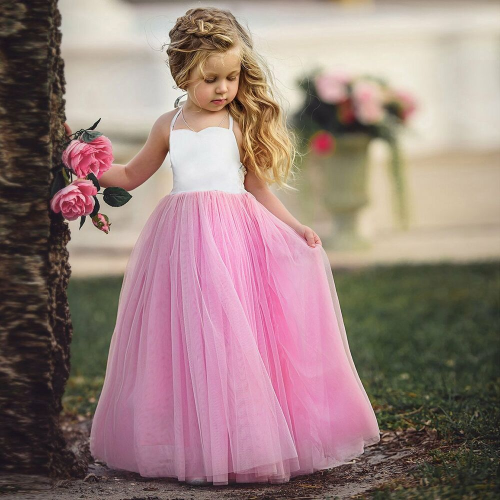 d70dffdb6cf Details about Girl Communion Party Prom Princess Pageant Bridesmaid Wedding  Flower Girls Dress