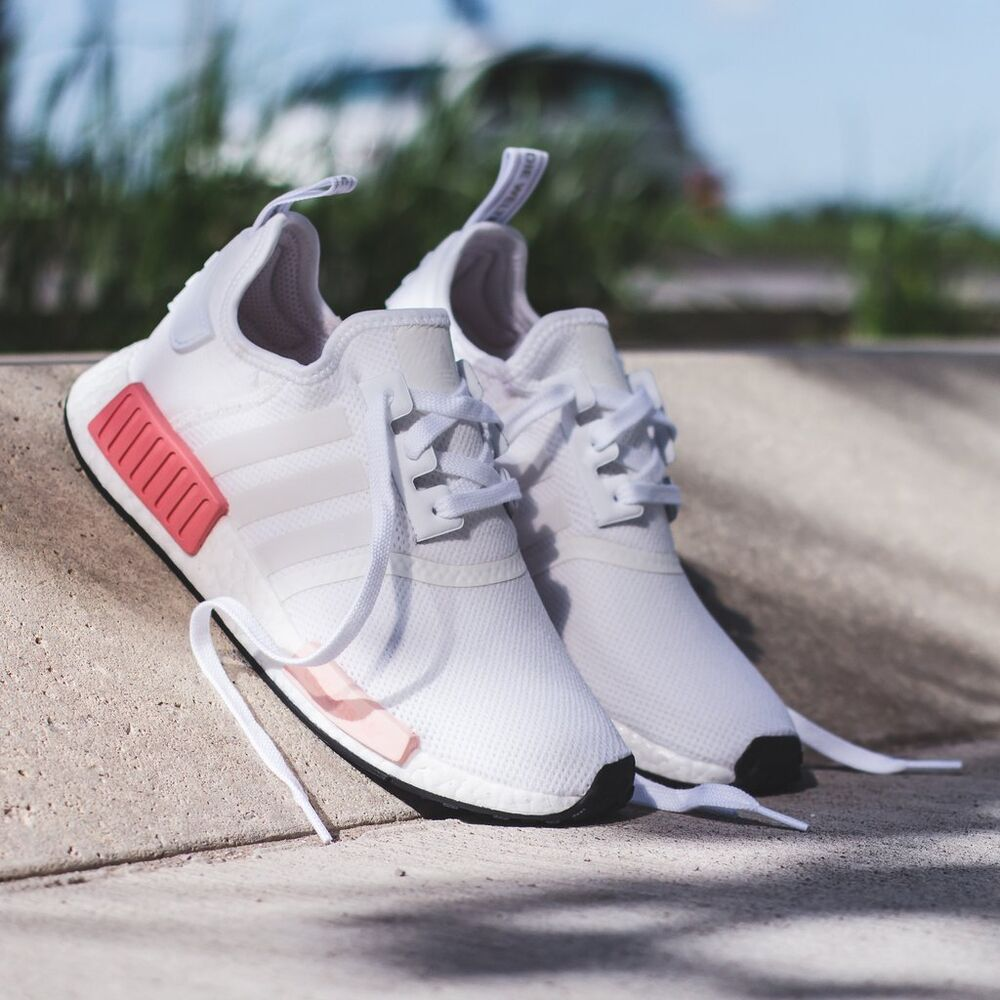 huge discount a8d94 c91f7 Details about ADIDAS NMD US UK 3 4 5 6 7 8 9 .5 WHITE PINK ICEY ICY WOMENS  R1 BY9952 RAW BEIGE