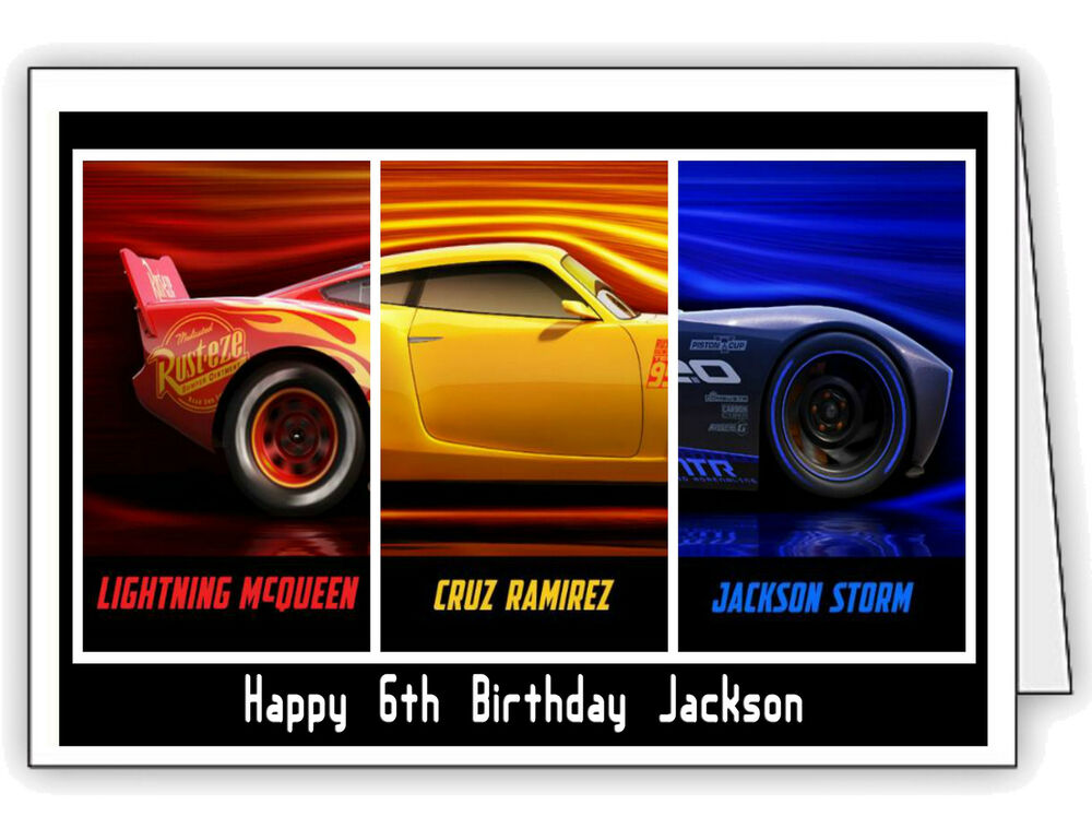 Details About Cars 3 Lightning McQueen Cruz Jackson Personalised Birthday Card Any Name Age