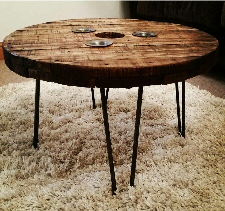 Round Wood Hairpin Coffee Table: Upcycled Cable Drum Reel Coffee Table Wooden Round Pallet