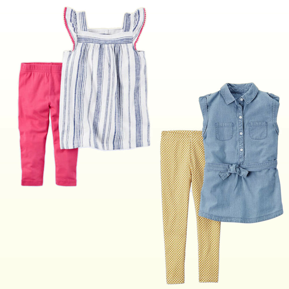 bb74f8d435554 Details about NWT Carter s Baby Toddler Girls  Tunic Top   Leggings -  Chambray Plaid Or Floral