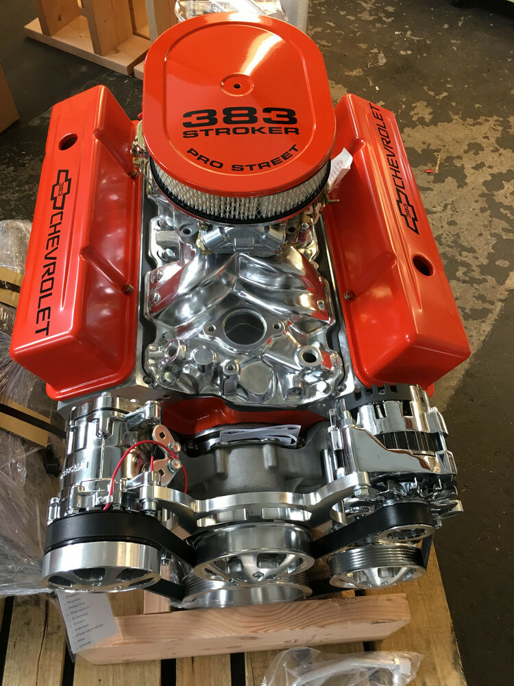 383 STROKER CRATE MOTOR 510HP WITH A/C ROLLER chevy TURN ...