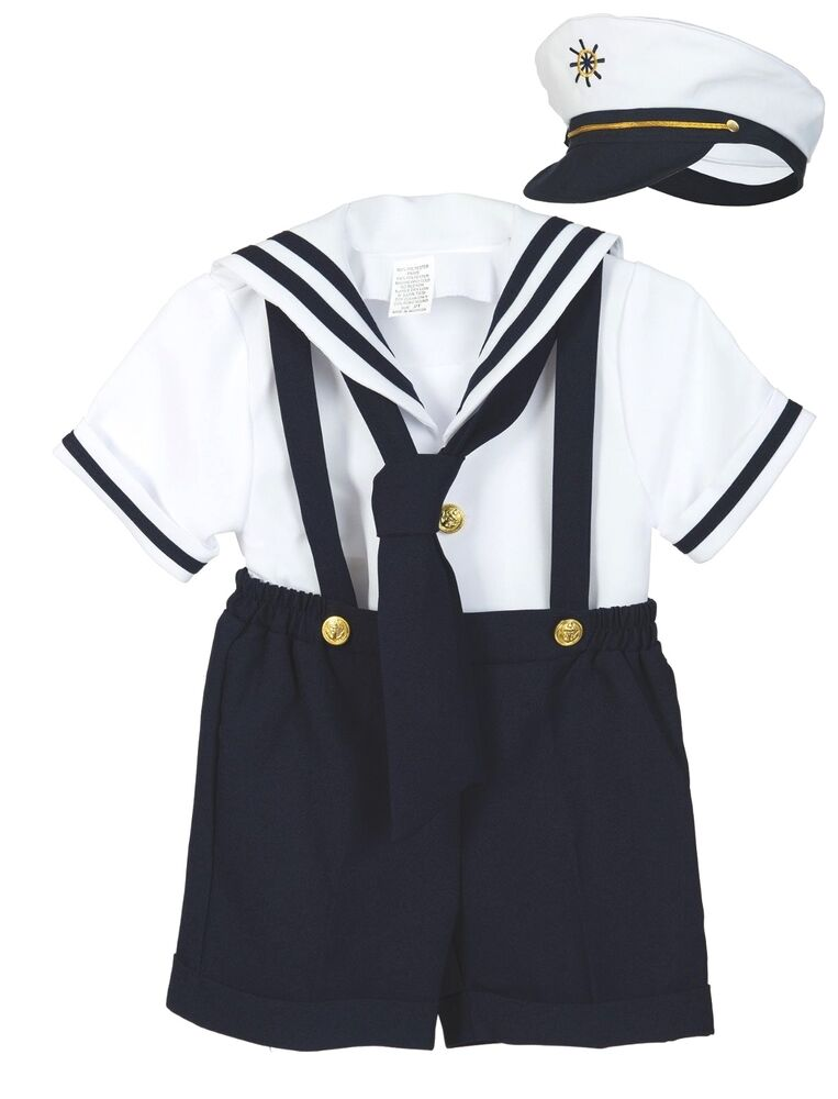Baby Boy Toddler Formal Party Nautical Navy Sailor Suit