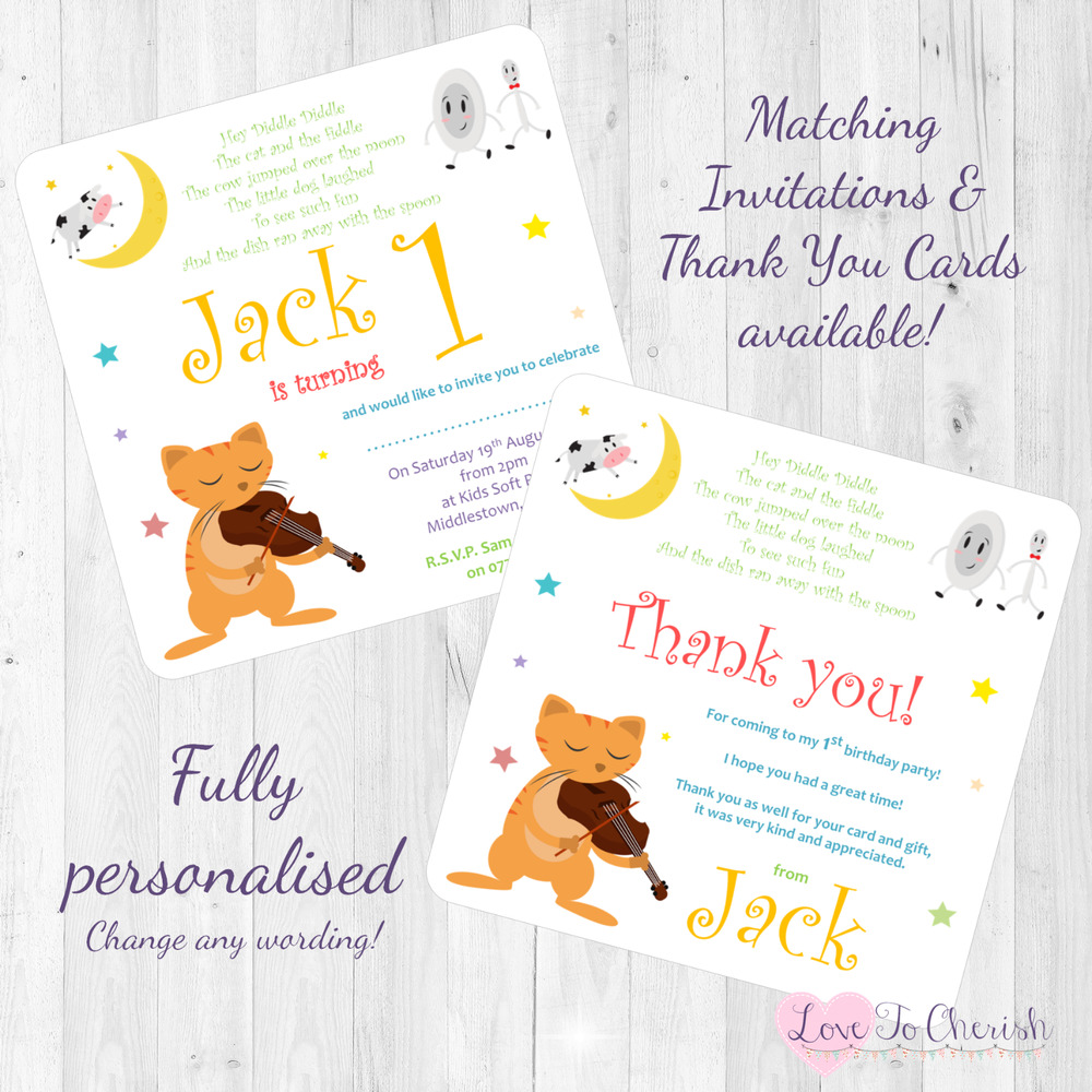 Details About Hey Diddle Personalised INVITES THANK YOU Birthday Party