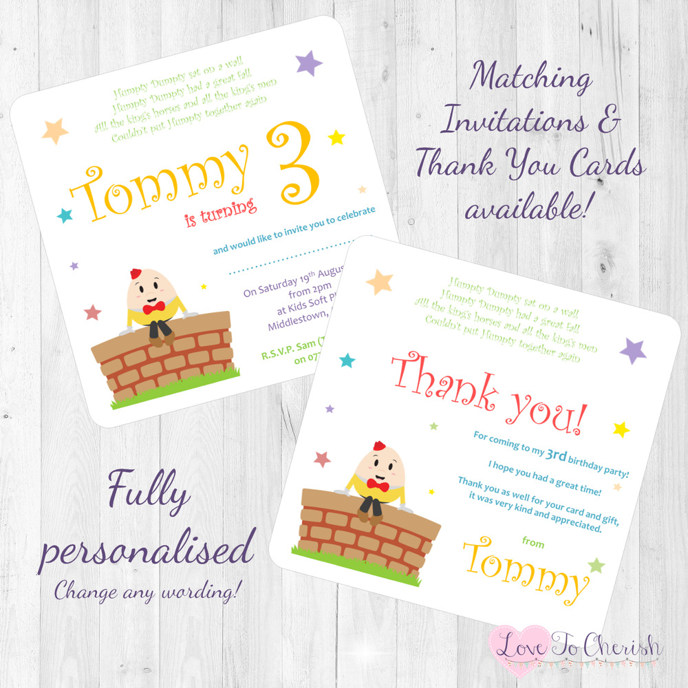 Details About Humpty Dumpty Personalised INVITES THANK YOU Birthday Party