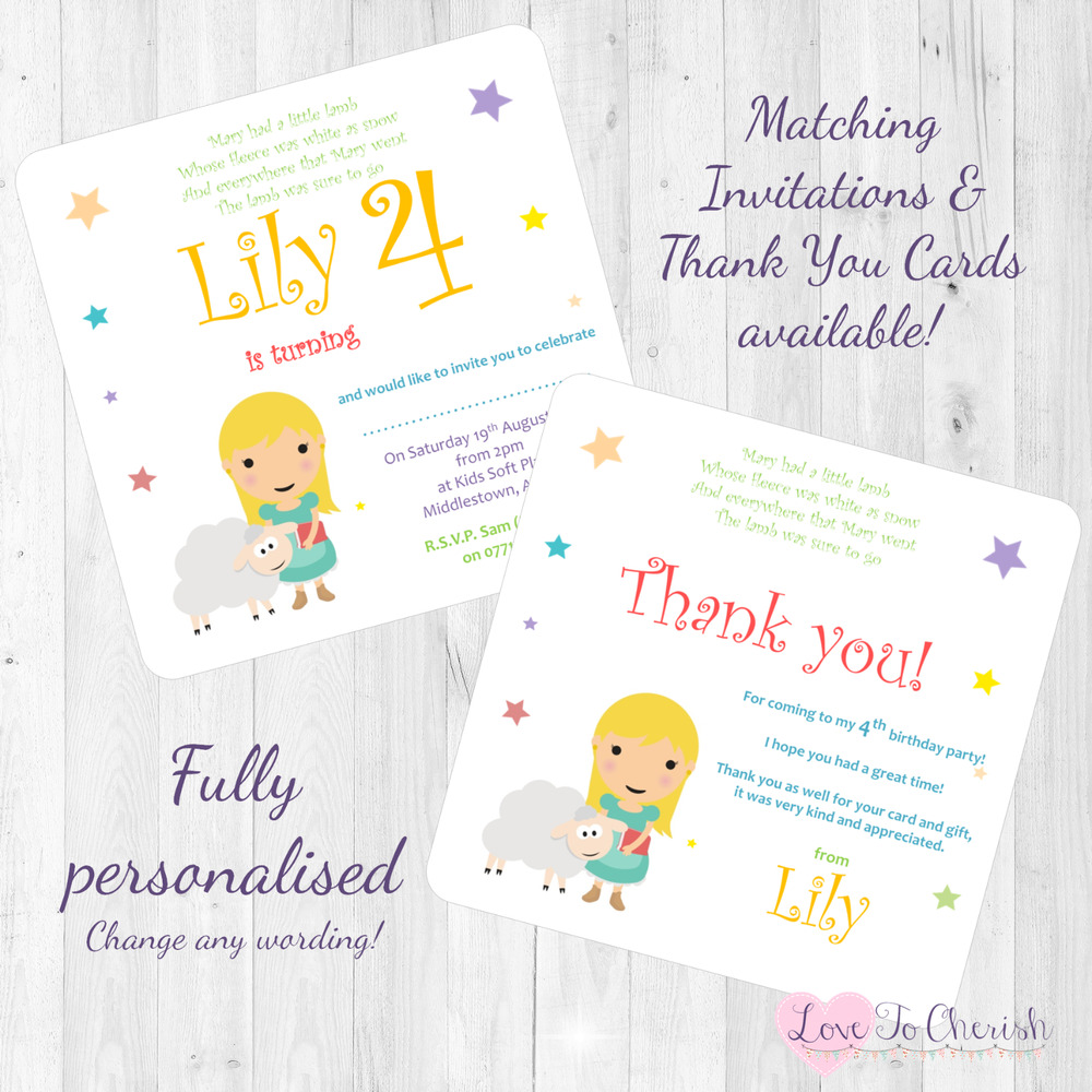 Details About Mary Had A Little Lamb Personalised INVITES THANK Birthday Party Nursery Rhyme