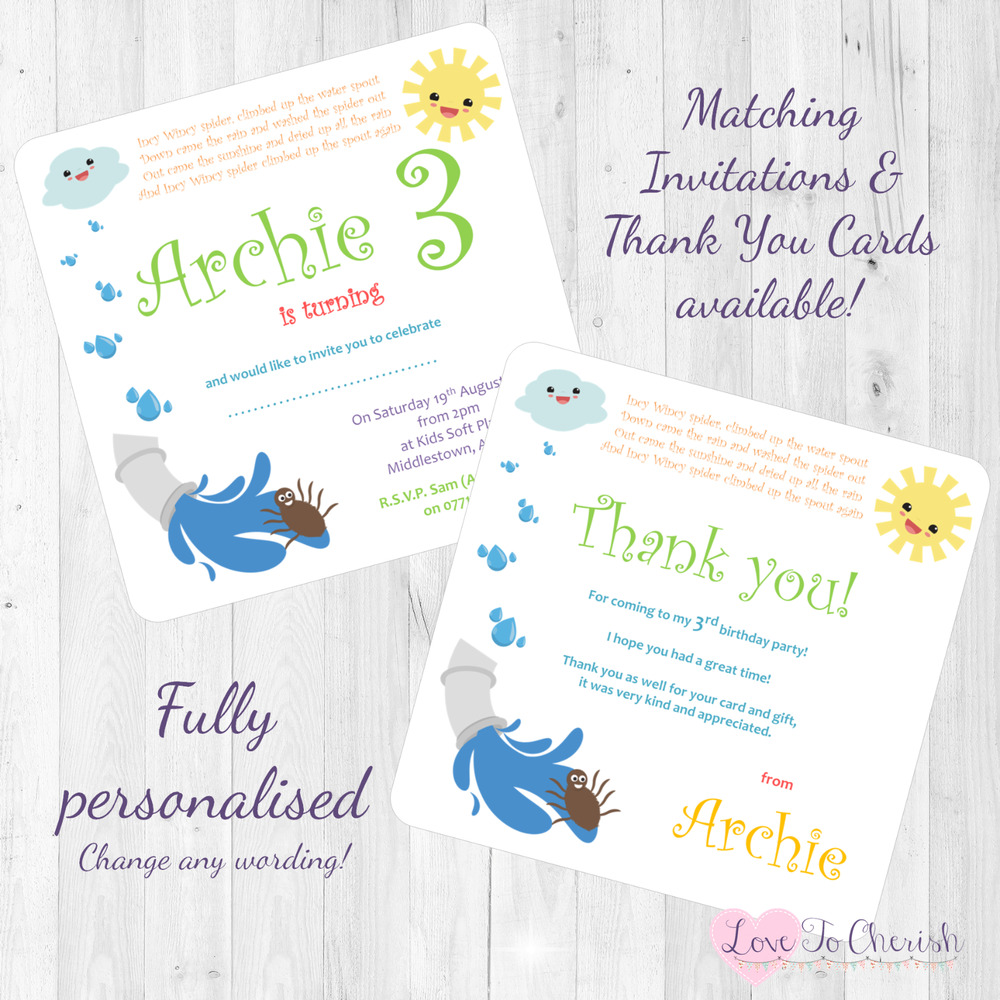 Incy Wincy Spider Personalised INVITES THANK YOU Birthday Party Nursery Rhyme