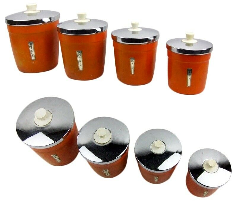 orange storage jars kitchen aluminium canisters retro kitchen canister set of four 3766