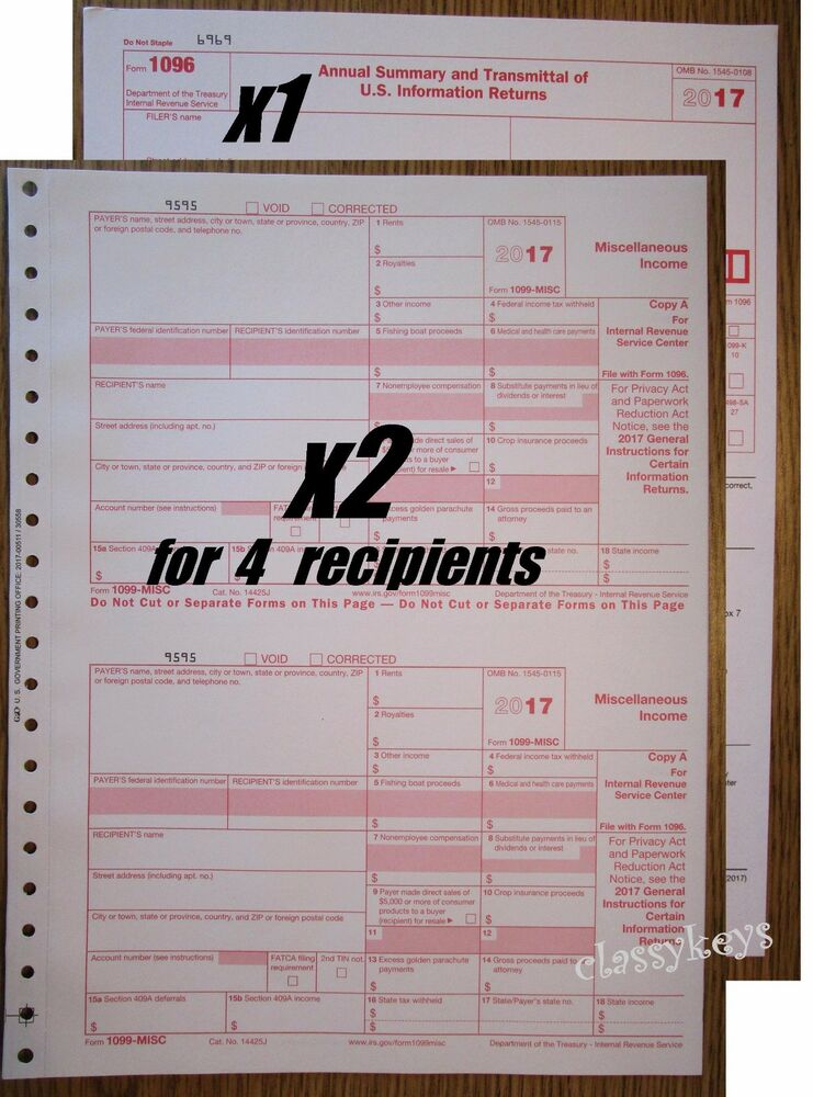 2017 Irs Tax Form 1099 Misc Carbonless 2 Sets For 4 Recipients