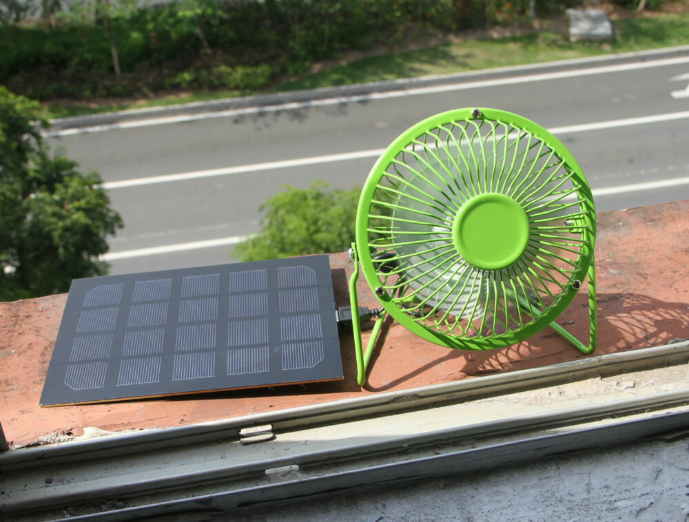Solar Panel Powered Usb Green 4 Mini Fan For Outdoor
