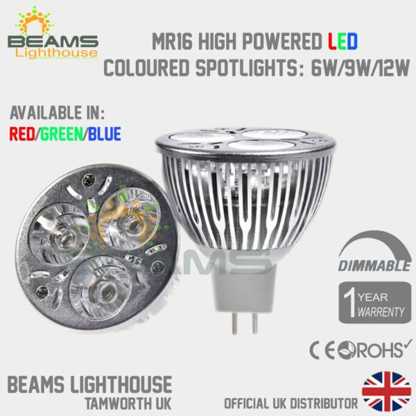 Dimmable MR16  6W 9W 12W RED/BLUE/GREEN/WARM/COOL White LED Colour Light Bulb