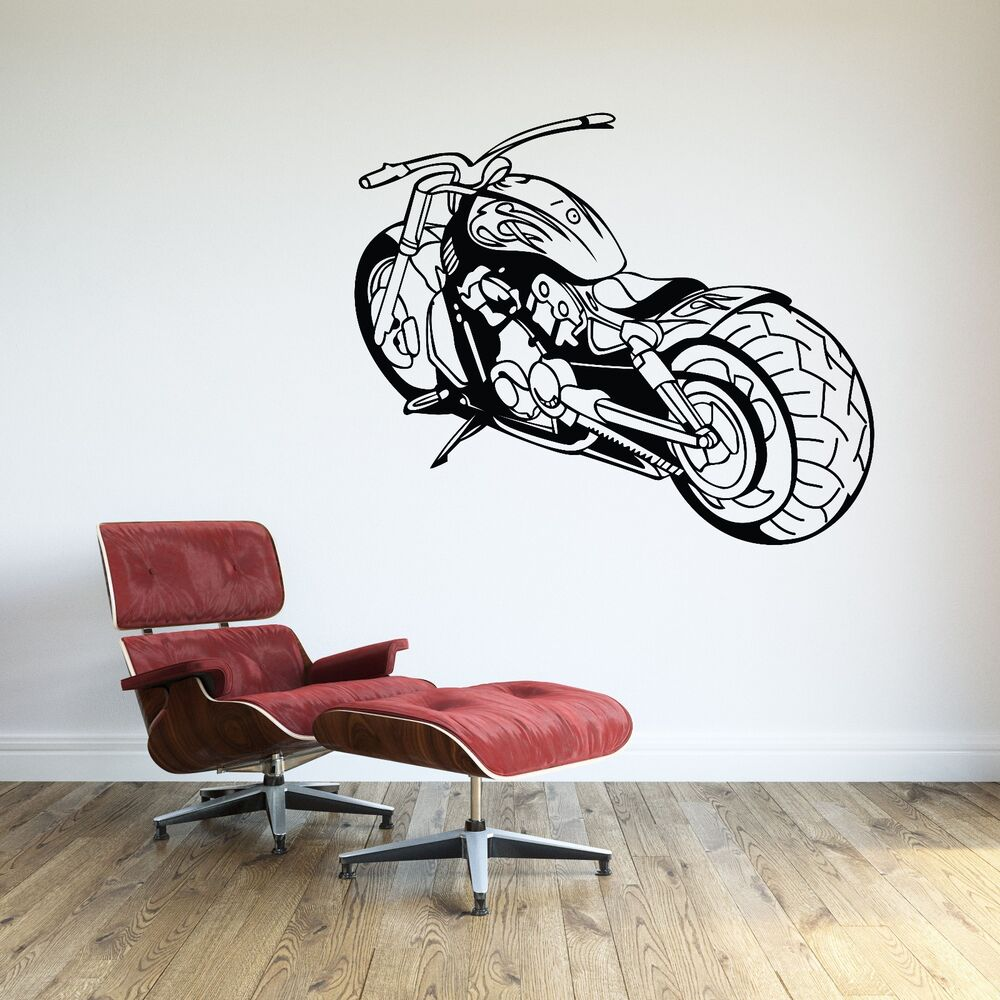 Motorcycle wall decal biker vinyl sticker room decor harley davidson extra large ebay