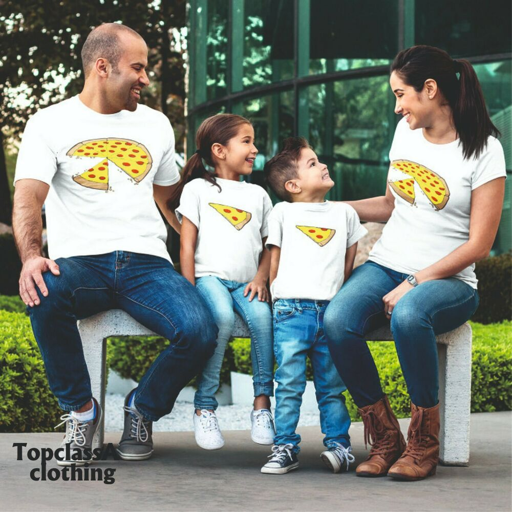 98c91cc0c Two Slices Missing Pizza Father Twin Daddy Dad Two Son Daughter Matching T  shirt   eBay