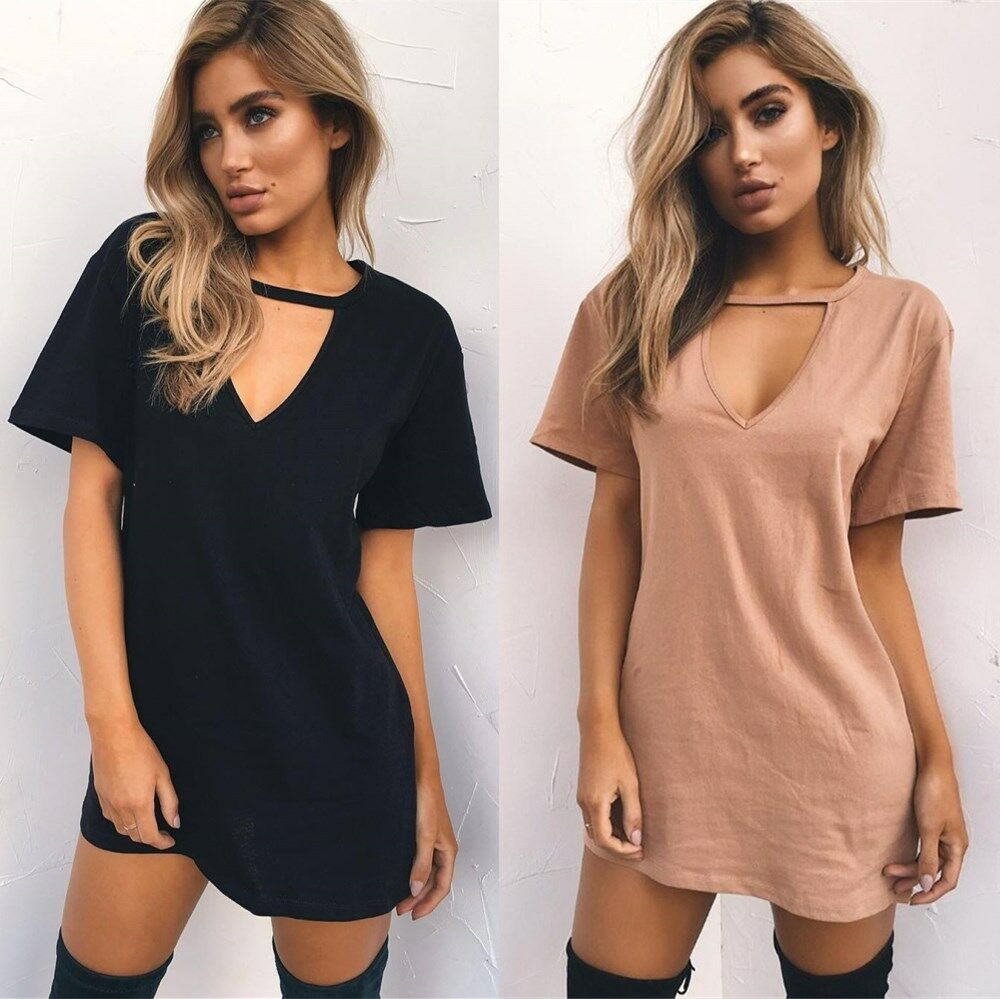 Plus size fitted v-neck t-shirt dress