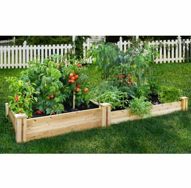 Rectangle Raised Flower Box Planter Bed 2 Tier Soil Pots