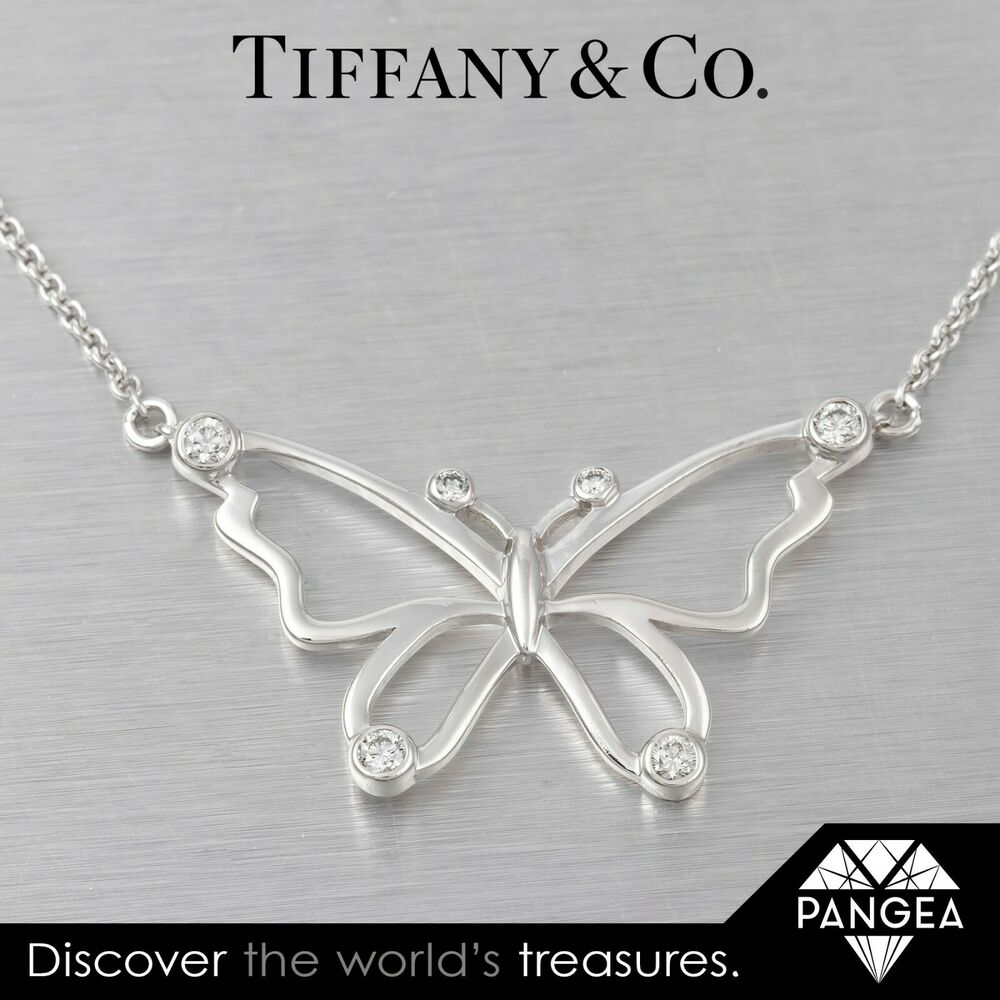 1dd691220 Details about Tiffany & Co. Sterling Silver Diamond Butterfly Pendant  0.44ctw Necklace 925