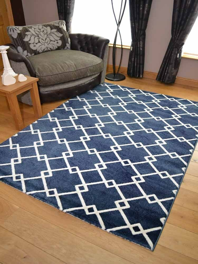 New Dark Navy Blue Link Modern Small Extra Large Floor Rugs Long Hall