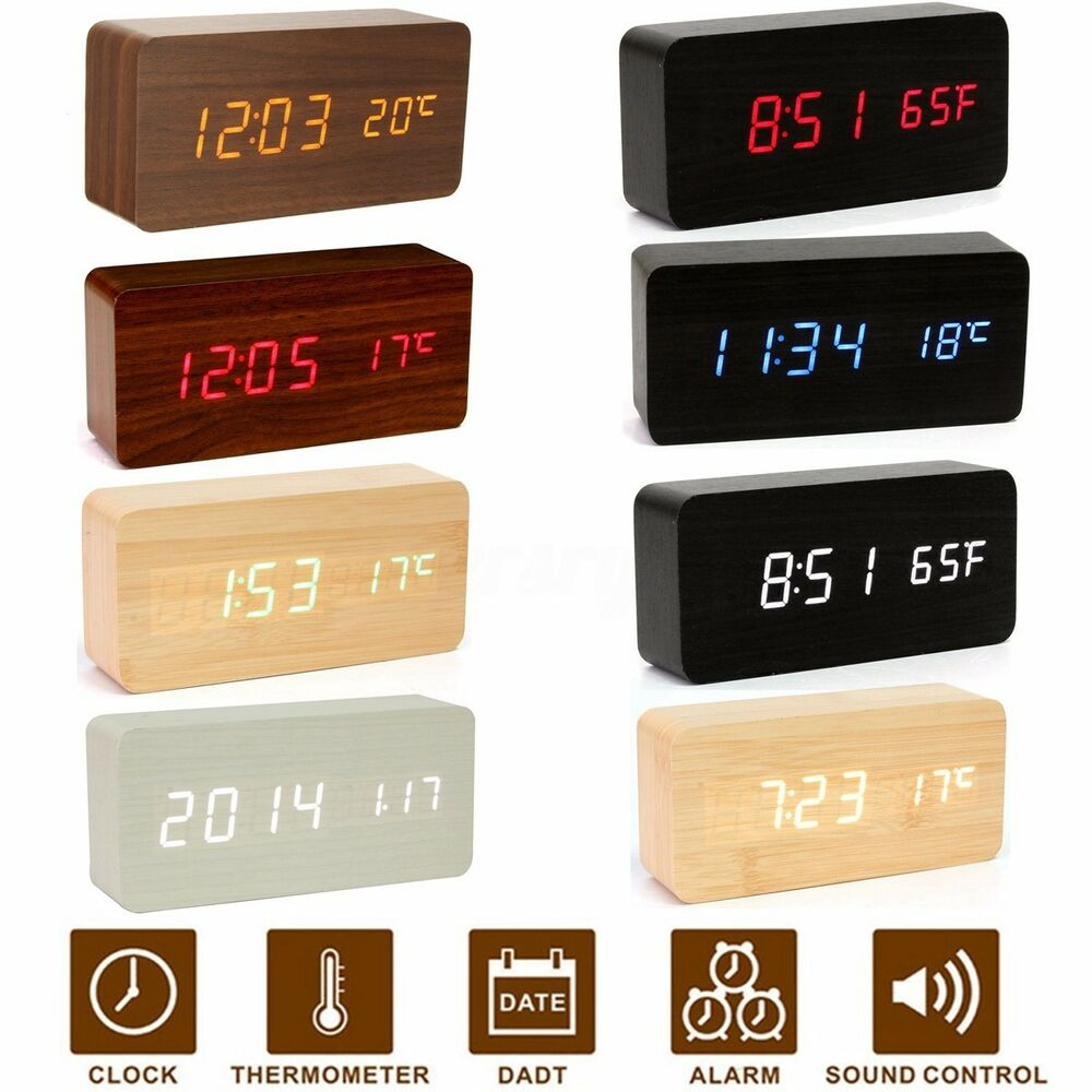 elektrische wooden holz digital led wecker uhr alarm kalender temperatur dc 5v ebay. Black Bedroom Furniture Sets. Home Design Ideas