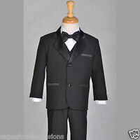 BOY TUXEDO SUIT SET BLACK FORMAL TODDLER 6-12M 2 3 4 5 6 7 8 9 10 12 14 16 18 20