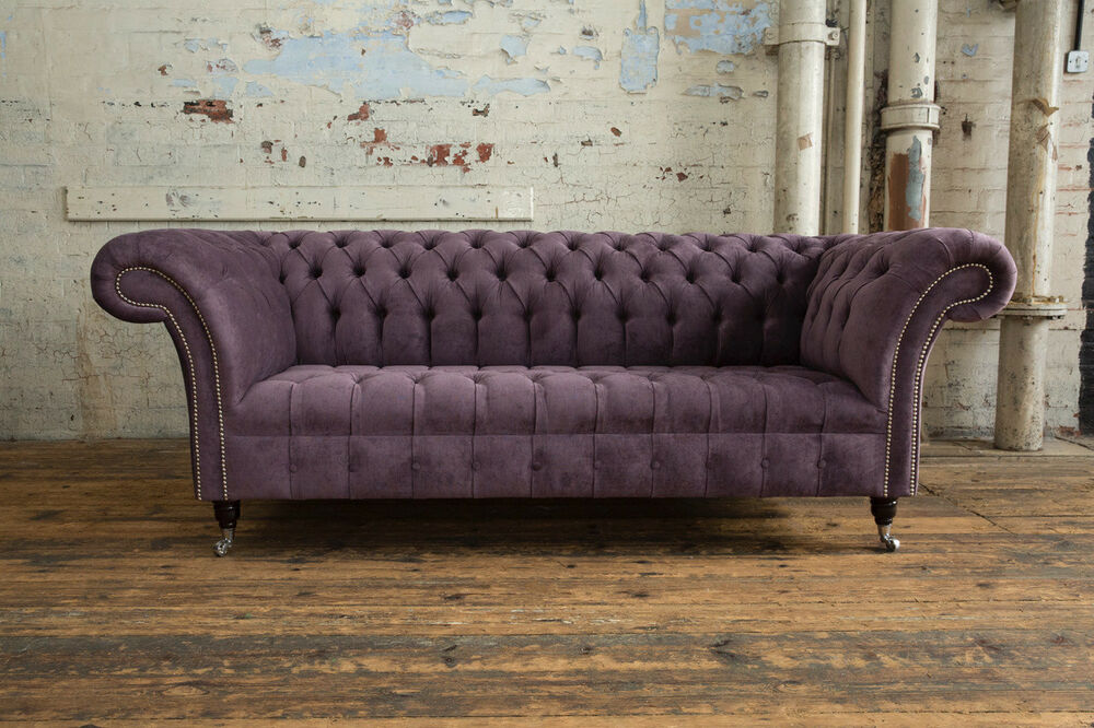 modern handmade 3 seater aubergine purple velvet chesterfield sofa couch chair ebay. Black Bedroom Furniture Sets. Home Design Ideas