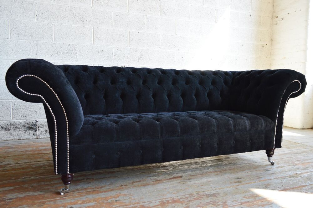 MODERN HANDMADE EBONY BLACK 3 SEATER VELVET FABRIC CHESTERFIELD SOFA CHAIR