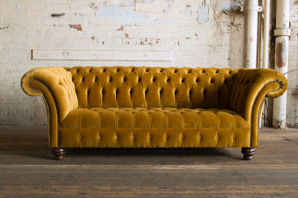 MODERN HANDMADE 3 SEATER PLUSH MUSTARD GOLD VELVET CHESTERFIELD SOFA