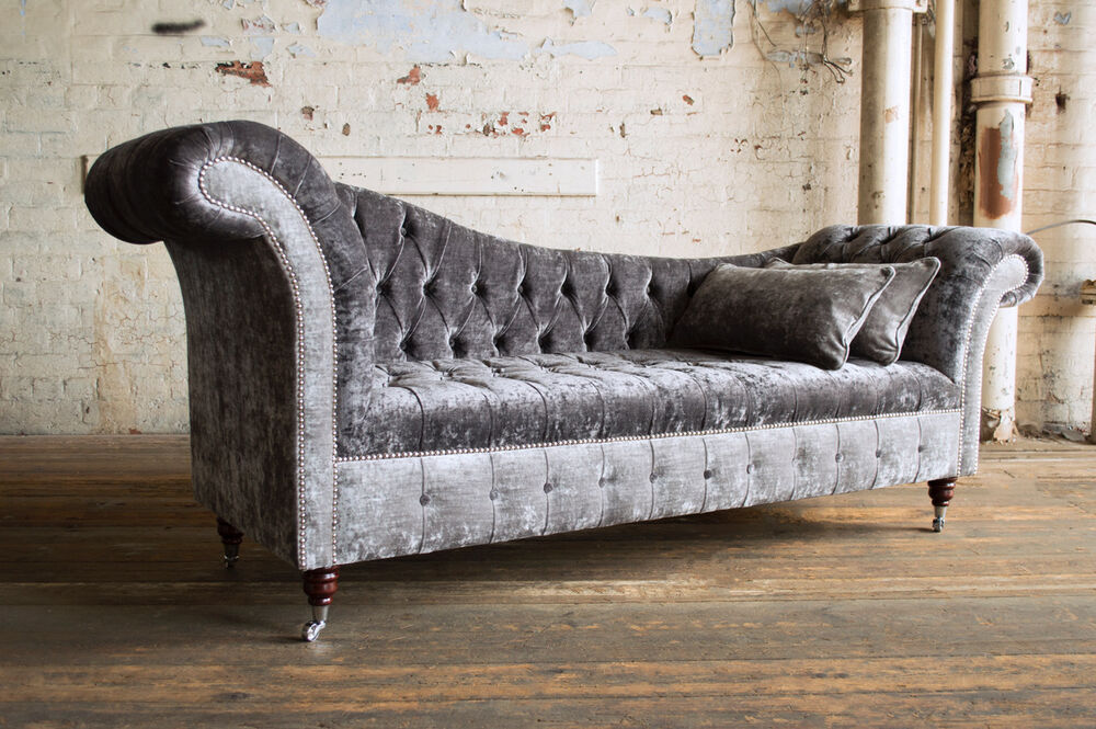 Handmade Chesterfield Chaise Lounge Ice Silver Amp Grey Semi