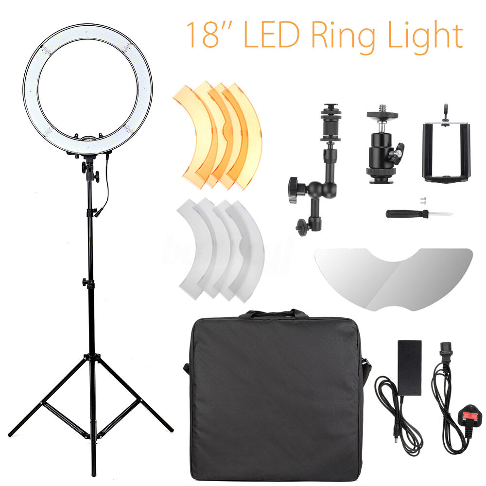 Ring Light Stand Ebay: 18'' 5500K 55W Dimmable LED Ring Light + Diffuser Tripod