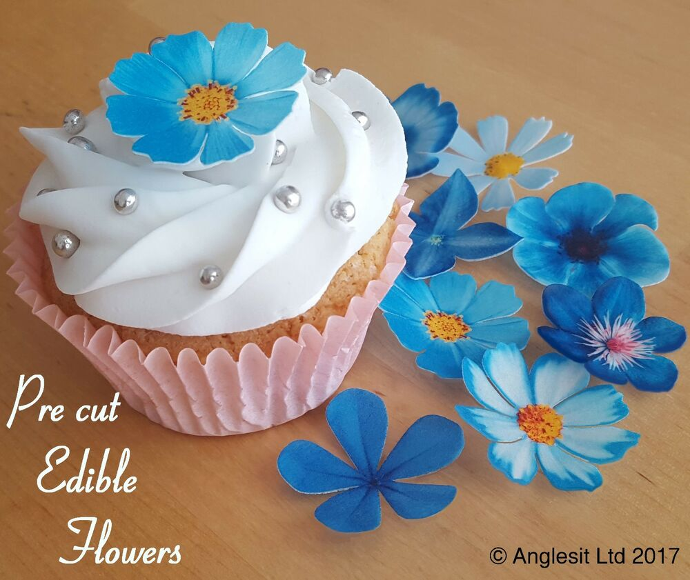 Pre Cut Beautiful Blue Flowers Edible Wafer Paper Cup Cake Topper