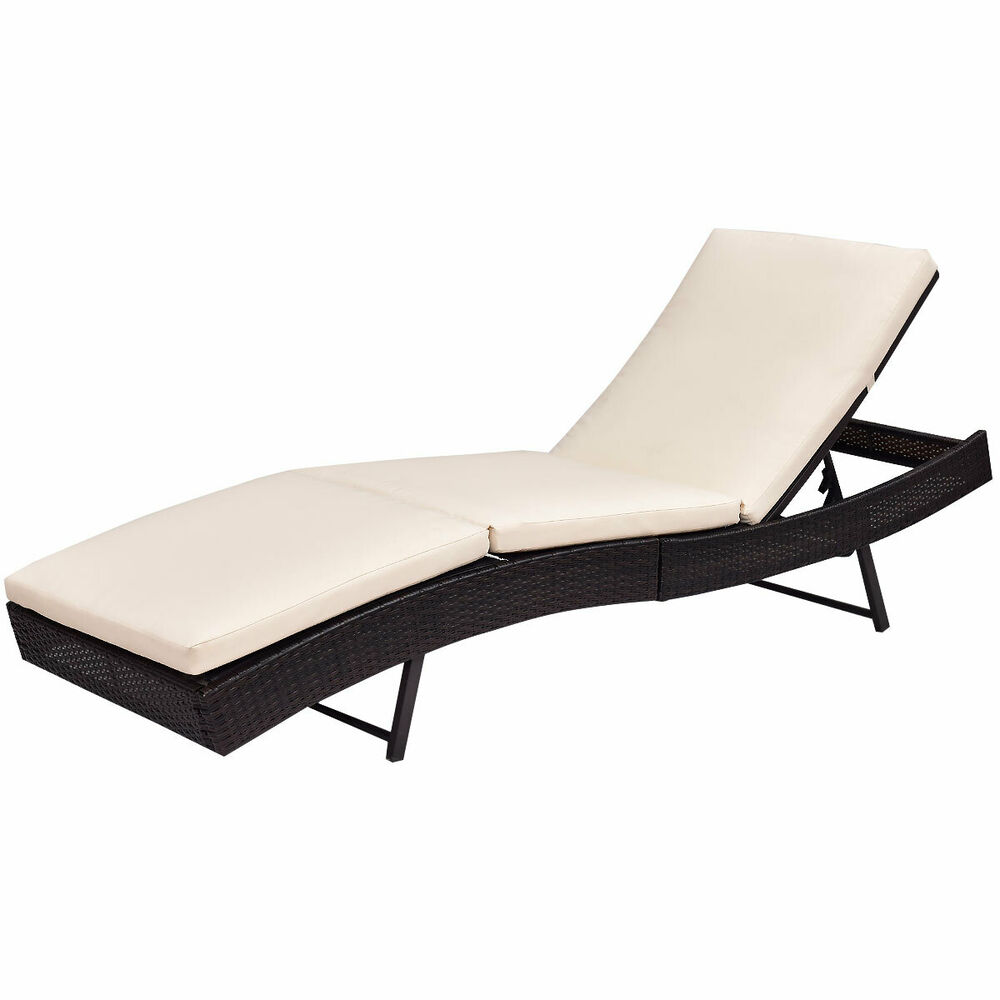 Patio Sun Bed Adjustable Pool Wicker Lounge Chair Outdoor