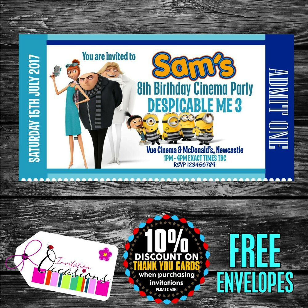 Personalised Birthday Invitations Despicable Me 3 Movie Ticket ...