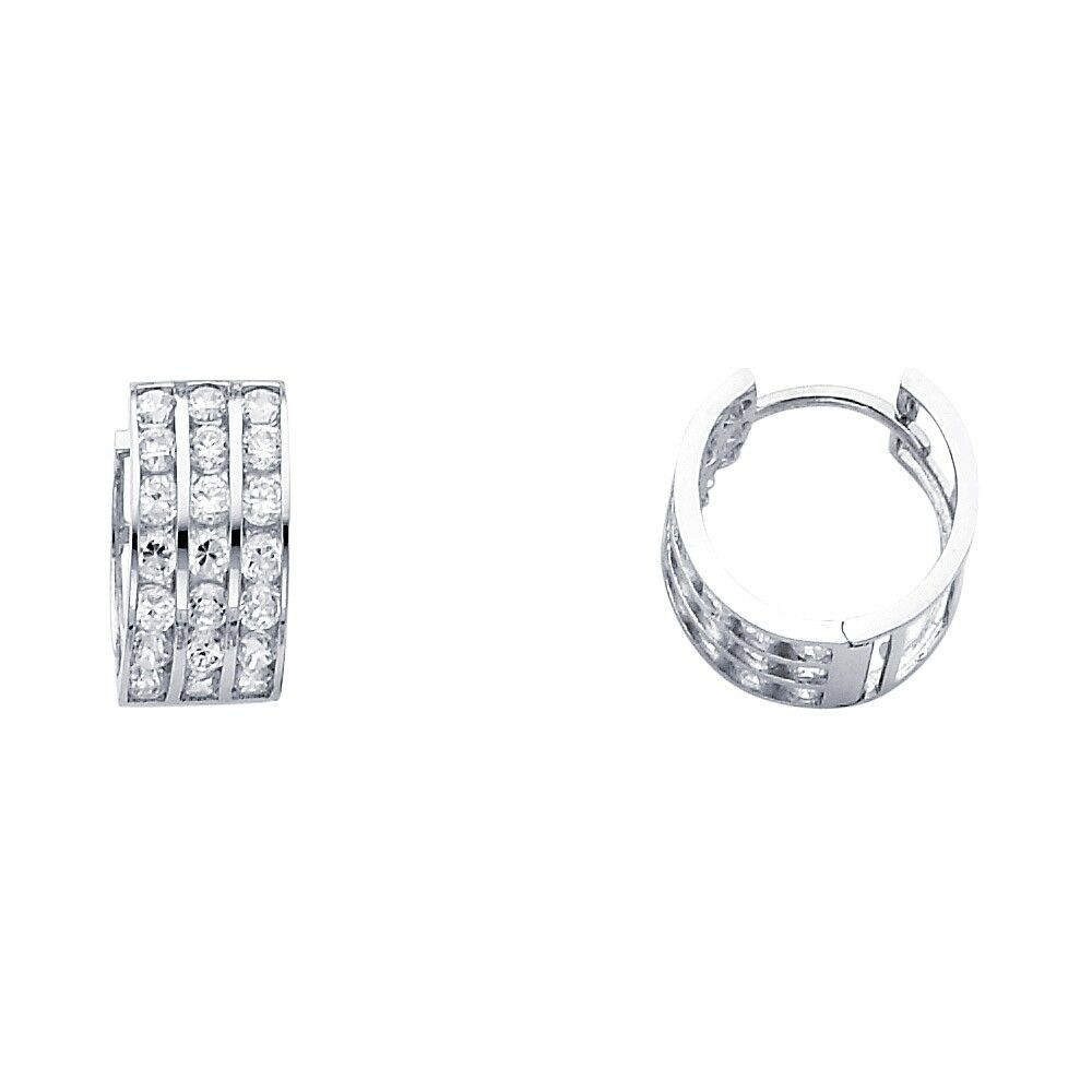 Details About Huggie Hoops Solid 14k White Gold Huggies Earrings Round Cz Three Row Pave Small