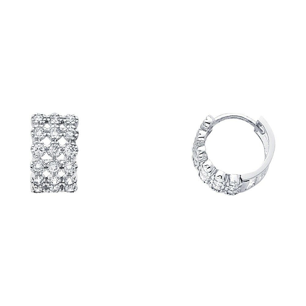 Cz Flower Hoops Solid 14k White Gold Huggies Earrings Round Three Row Small