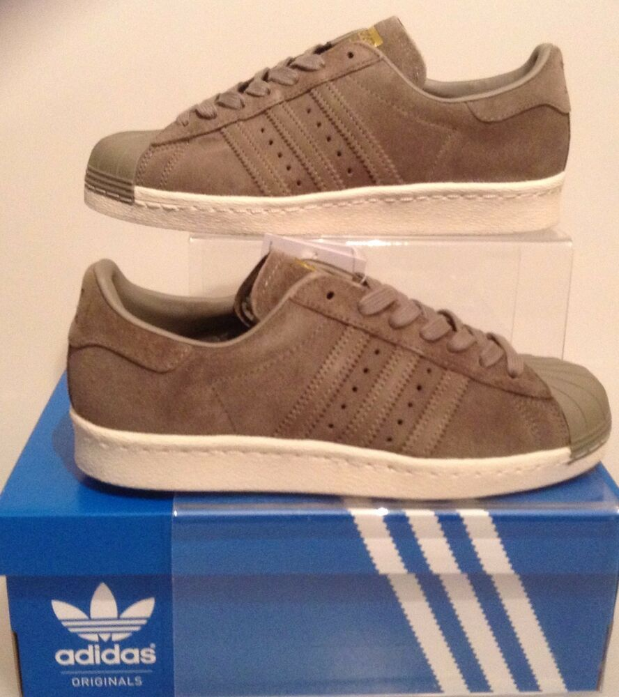 premium selection 9c708 9dde8 AUTHENTIC ADIDAS SUPERSTAR 80s TRAINERS KHAKI GREEN SUEDE BB