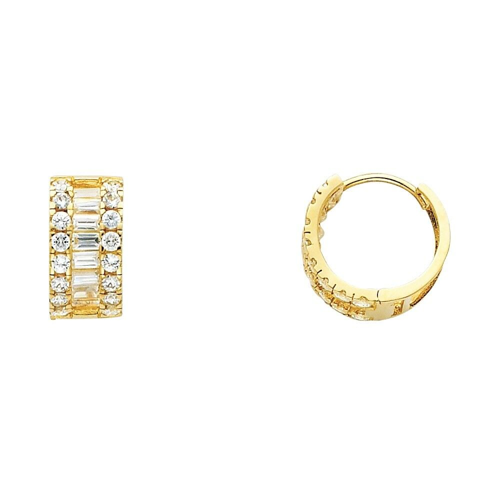 a53a5cfd62400 Small Huggie Hoop Earrings Solid 14k Yellow Gold Huggies Round ...
