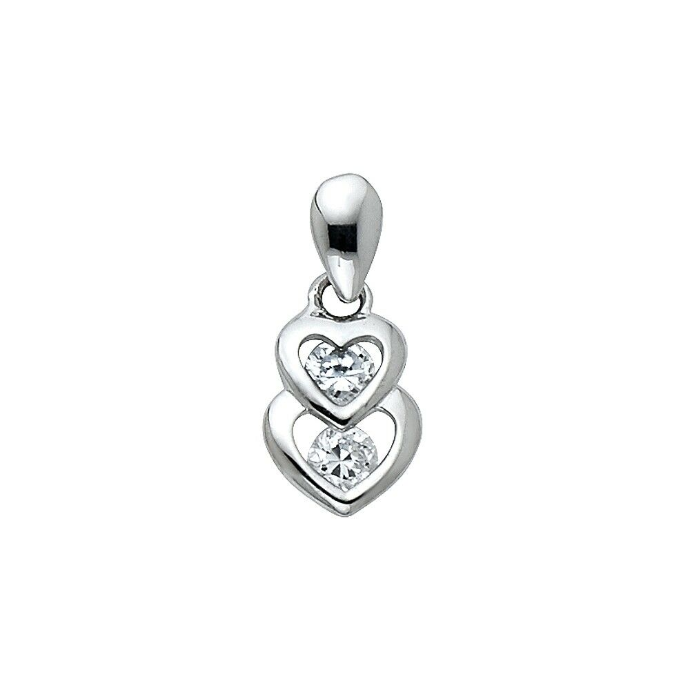 Solid 14k white gold two hearts charm cz heart pendant love fancy 7 solid 14k white gold two hearts charm cz heart pendant love fancy 7 x 10 mm aloadofball Image collections