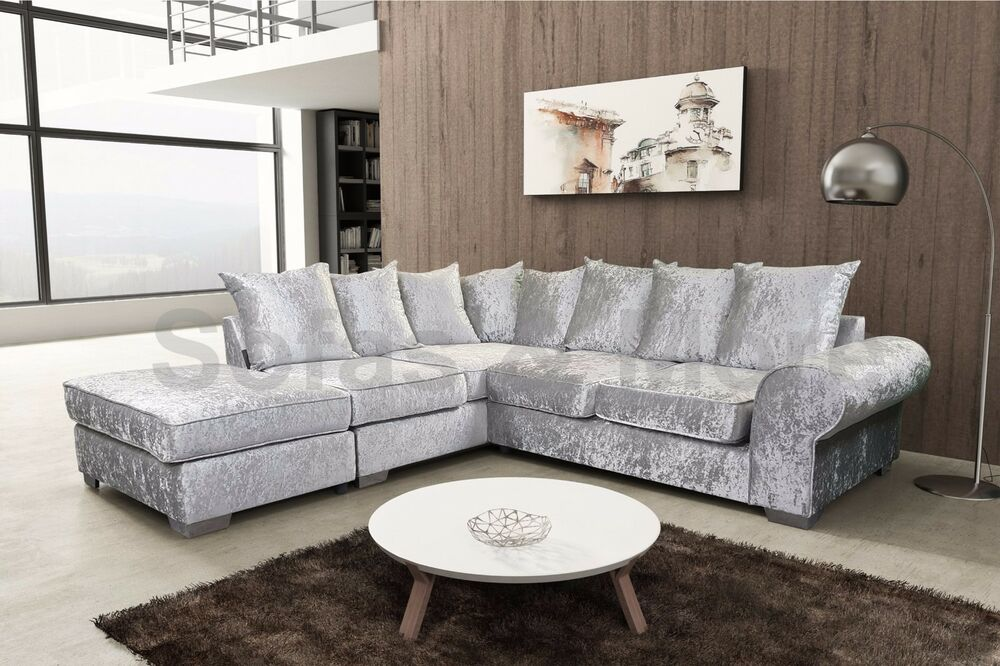 crushed velvet corner sofa cream silver black living room. Black Bedroom Furniture Sets. Home Design Ideas