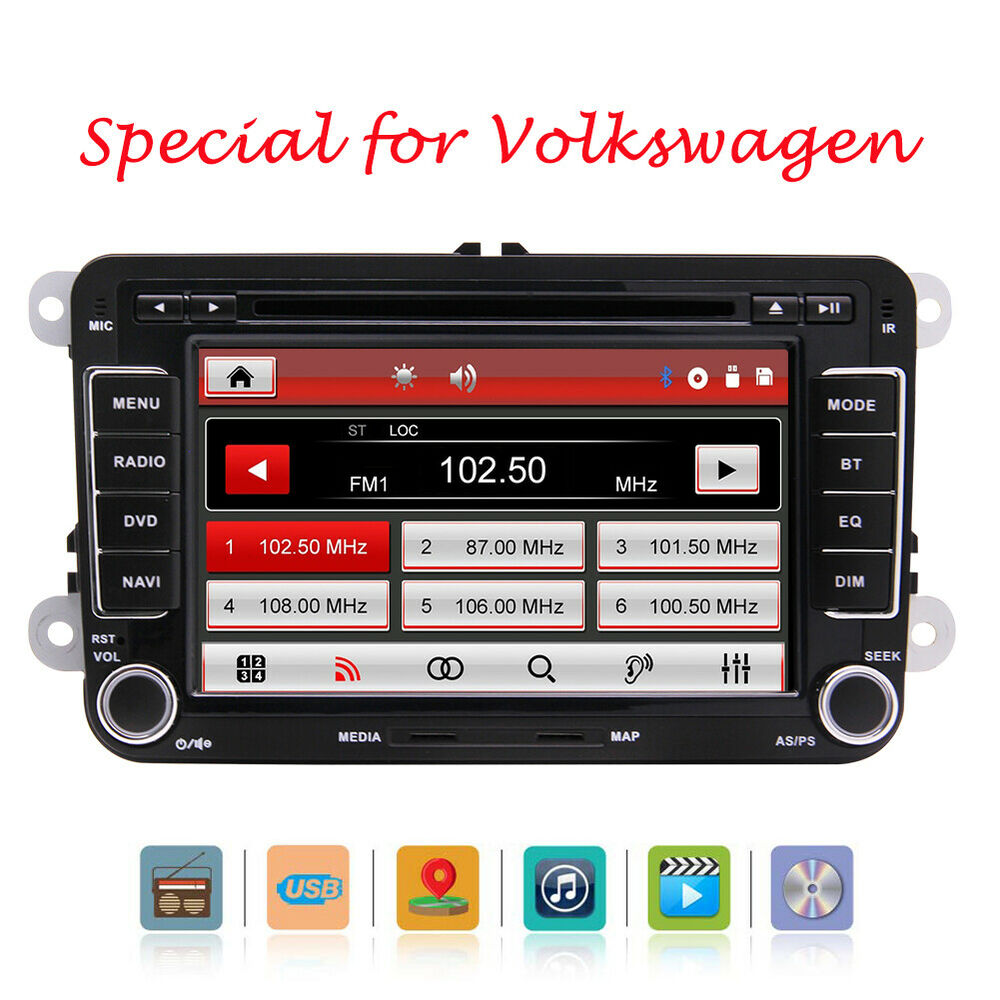 gps autoradio for vw navi doppel din golf 5 6 passat skoda seat touran jetta eos ebay. Black Bedroom Furniture Sets. Home Design Ideas