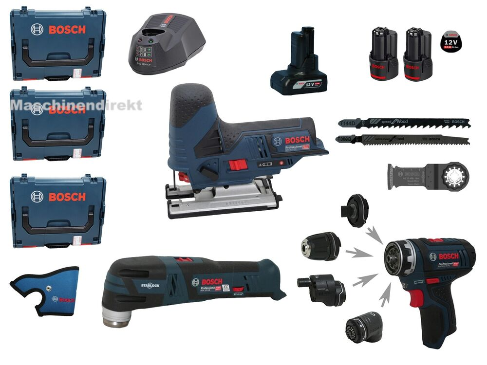 bosch akku bohrschrauber gsr 12v 15 fc flexiclick multi cutter gop 12v 28 gst ebay. Black Bedroom Furniture Sets. Home Design Ideas