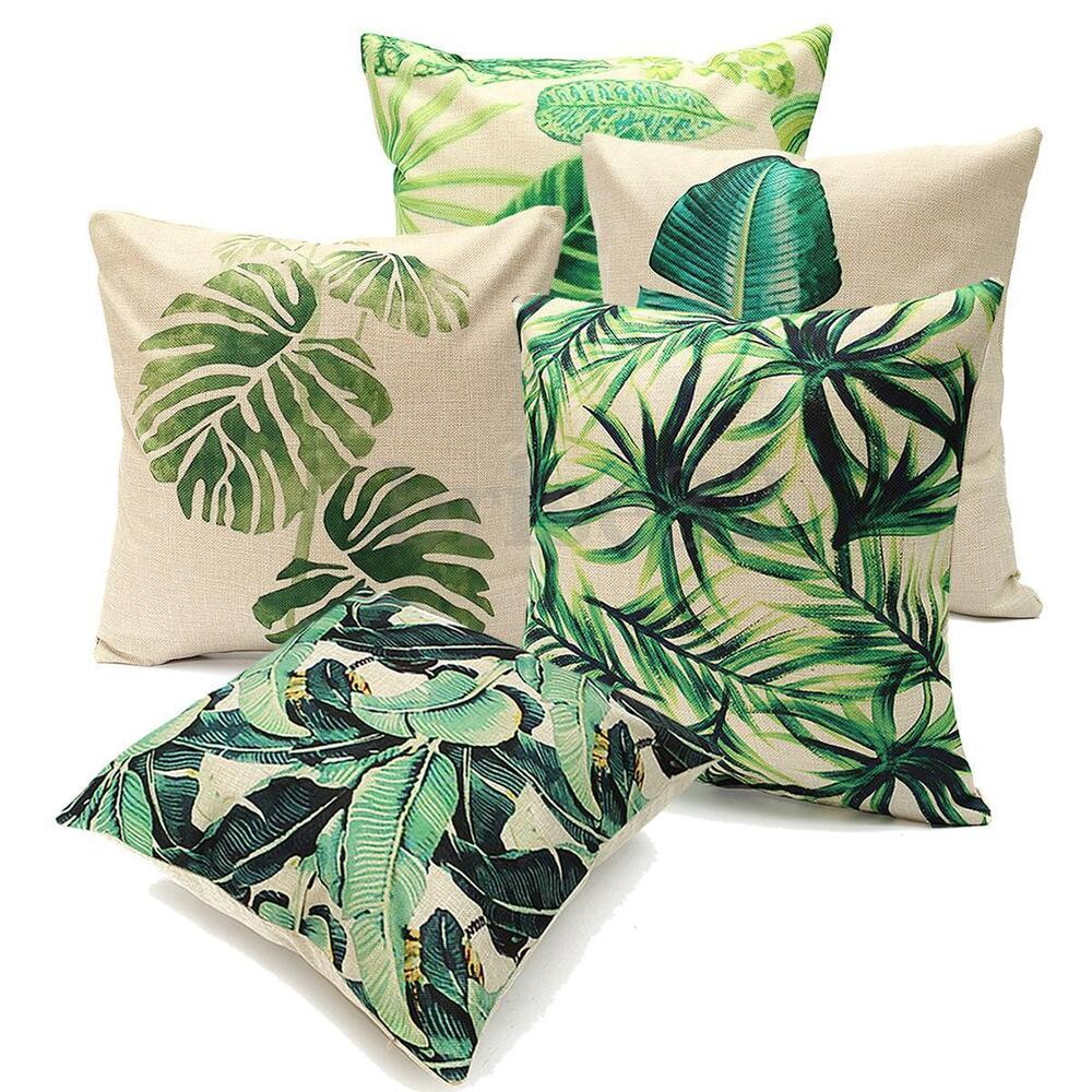 tropical feuilles housse de coussin taie d 39 oreiller cushion cover canap d cor ebay. Black Bedroom Furniture Sets. Home Design Ideas