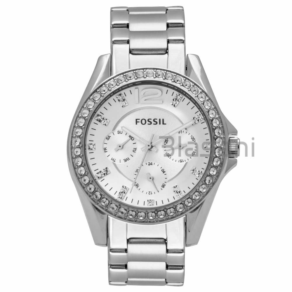 Fossil original es3202 women 39 s riley silver stainless steel watch 38mm ebay for Watches 38mm
