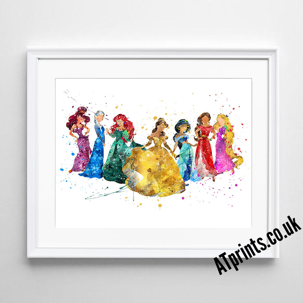 DISNEY PRINCESS Print Poster Watercolour Framed Canvas