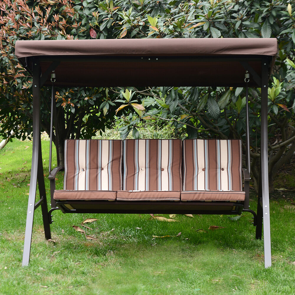 Outdoor 3 Person Patio Swing Chair Garden Hammock Canopy ...