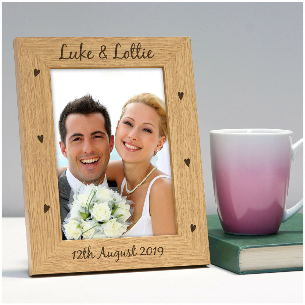 Personalised 1st Wedding Anniversary Gifts: Engraved Wood Photo Frame Wedding Anniversary Gifts