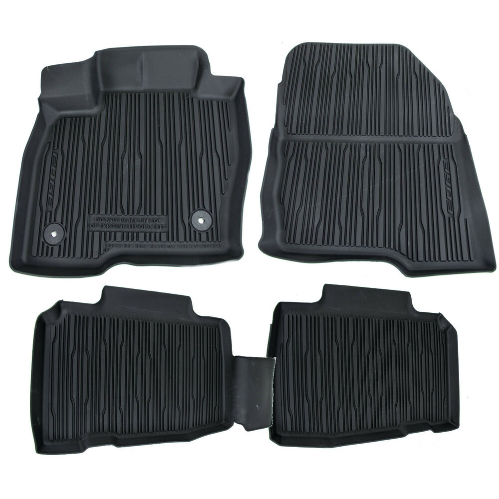 oem new 2015 2017 ford edge all weather rubber tray catch all floor mats black ebay. Black Bedroom Furniture Sets. Home Design Ideas