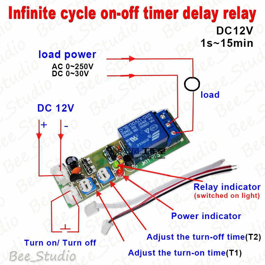 DC 12V Trigger Infinite Cycle Delay Timer Relay Switch ...