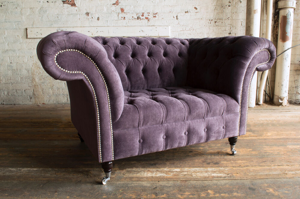 Attrayant MODERN HANDMADE AUBERGINE VELVET CHESTERFIELD SNUGGLE LOVE SEAT CHAIR, LARGE