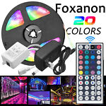 5M RGB 5050 Waterproof LED Strip light SMD 44 Key Remote 12VUS EU Power Full Kit