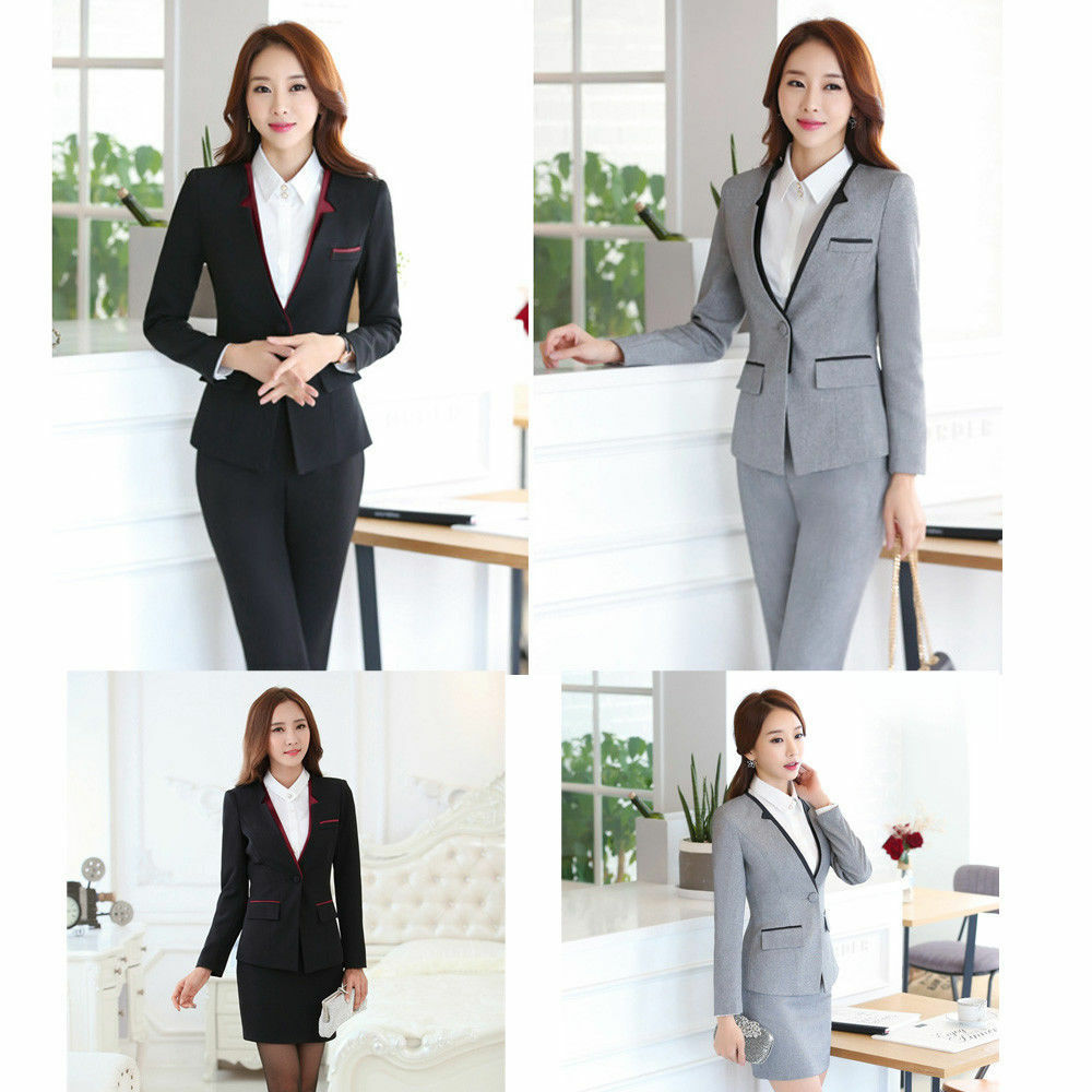 Formal Office Uniform Women Suit With Skirt/pants for Business Work Wear Set 5XL | eBay