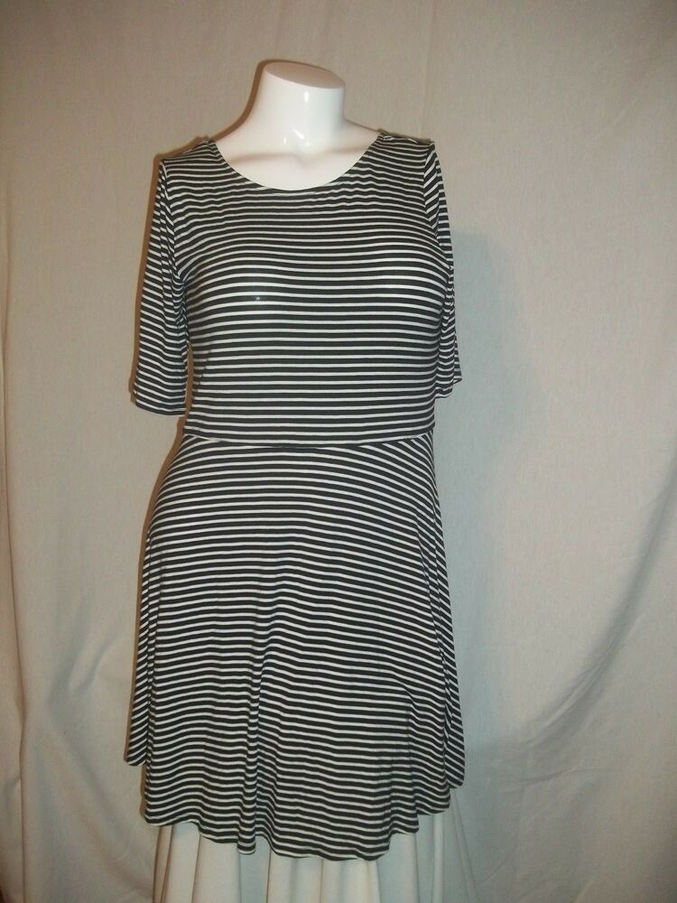 2b5e798f7 Details about NEW DECREE JCP BLACK&WHITE STRIPE JUNIORS PLUS SIZE 1X SKATER/FLARE  SKIRT DRESS